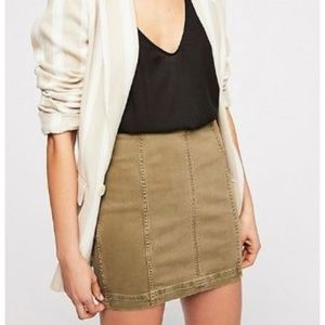 NWT Free People Modern Femme Denim Mini Skirt Army